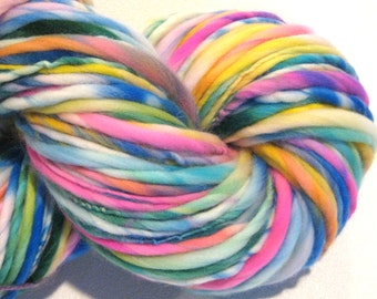 Bulky Handspun Yarn Confetti Cake 145 yards hand dyed wool rainbow yarn waldorf doll hair knitting supplies crochet supplies
