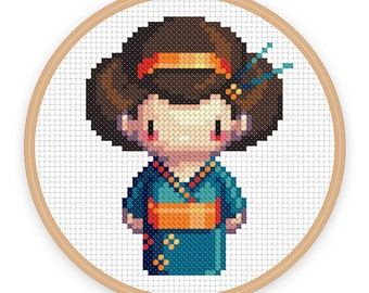 GEISHA GIRL IZUMI: a pixel art counted cross stitch pattern - digital download - printable pdf file