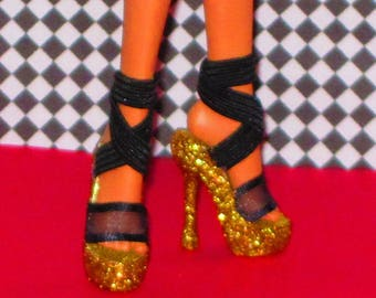 Monster Doll Monster Doll shoes FIERCE GOLD Platform shoes for  10.5 in, Ever After High, Monster High doll clothes, custom doll shoes