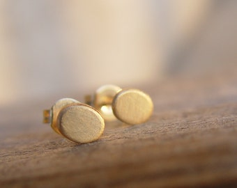 Gold Stud Earring, Gold Oval Studs, Gold Stud Earrings, Small Gold Earrings, Stud Earings