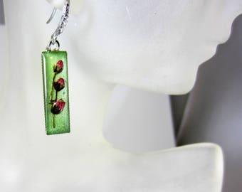Pink  Kalmia Buds  on Light Green, Earrings, Small Drop  Earrings,  Pressed Flower Earrings, Real Flower Jewelry,  Dangles,  Resin (3030)