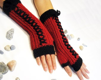 Hand Knit BLACK and  RED...Long Fingerless Gloves, Merino Wool Mittens, Women Arm Warmers , eco friendly