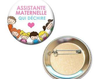 Badge 56 mm - childminder tearing children white craft gift