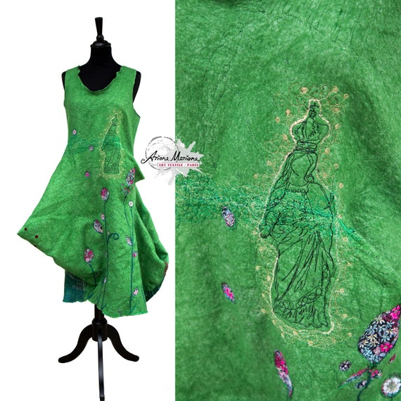 Reversible Wearable Art Dress - Merino Wool Silk Nuno Felt - Deconstructed Women Garment - Art Statement Made in France Paris Designer