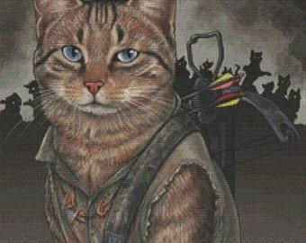 Modern Cross Stitch Kit, Daryl Dixon By Jenny Parks, Needlecraft Kit, Walking Dead, Counted Cross Stitch, DMC Materials