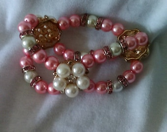 Pink and White Pearl Bracelet