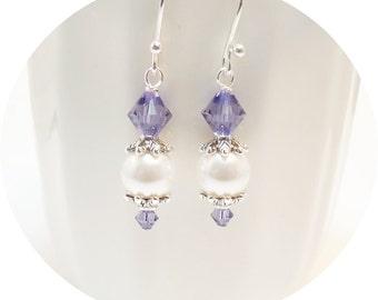 Purple Earrings, Wedding Earrings, Bridal Earrings, Bridesmaid Jewelry, Crystal and Pearl, Dangle Earrings, Tanzanite, Wedding Jewelry