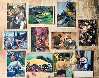 Antique Postcards from Germany and France, Famous Painters Artists, Degas, Gauguin, Musee Du Louvre, Ephemera, Mixed Media Collage, Fine Art