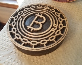 "large carved wooden ""bitcoin"""