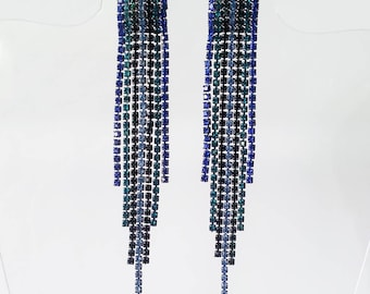Vintage tassel crystal earrings Stud earrings Blue green crystal earrings Vintage jewelry Prom summer jewelry Wife gifts Prom earrings