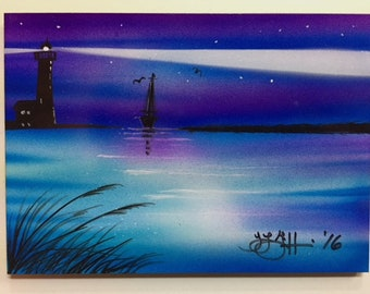 """Airbrushed Fridge Magnet 5"""" x 7"""" Lighthouse Sailboat by Artist Teresa Griffin"""