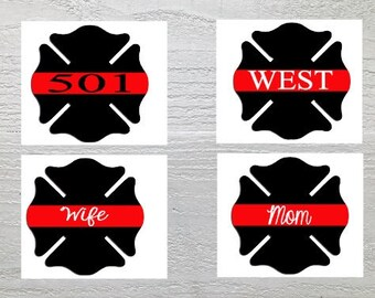 Thin Red Line Maltese Cross Decal / Firefighter/ Yeti Decal/ Car Decal/ Phone/ Laptop