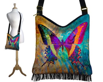 Bohemian Butterfly Hippie Bag Hobo Purse Crossbody Bag Gyspy Boho Fringe Bag, zipper, colorful blue purple orange black RTS