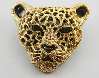 2 Stk.Zink Gold Jaguar Leopard Head Studs Leder Craft Dekorationen Ergebnisse 45 mm.