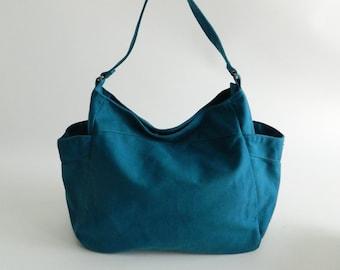 Mothers days Sale 25 %-Teal canvas cross body bag,Vegan mom diaper bag,Hobo Shoulder bag,Handbag Gift for her,women School Bag /no.101 RENEE