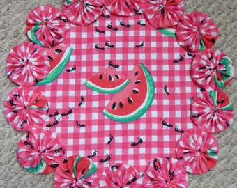 """12"""" Pink and White Gingham with Watermelon and Picnic Ant Yo Yo Doily"""