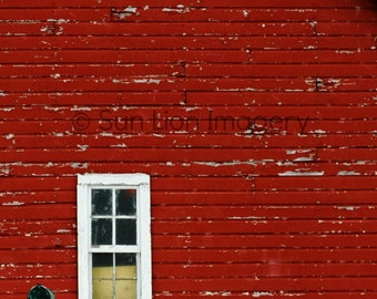 Barn Window - Wall Art - Architecture Photography - Home Decor -  Art Print - Snow - Red - 8x10