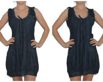 Denim Jumper Dress Vintage Jeans Sarafan Dress Summer Dress Country Style Hipster Short Sleeve 90's Sarafan
