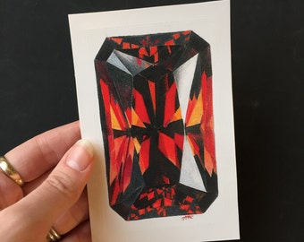 Red Garnet 3x4in Gemstone Hand Drawn with Colored Pencil and printed on a 3x4in Sticker