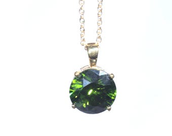 Dark Green Faceted Crystal Pendant, Gold Tone Chain and Setting, Olive Green Elegant Pendant Necklace