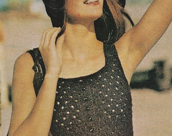 Eyelet Camisole Top,  Vintage Knitting Pattern, INSTANT DOWNLOAD PDF