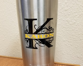 2-Color Personalized Monogram Decal for Yeti, RTIC or Other Insulated Cup (Decal Only)