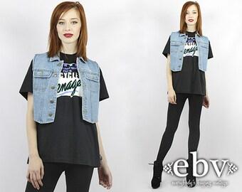 Denim Vest Jean Vest Cropped Denim Jacket 90s Denim Vintage 90s Cropped Denim Vest Jean Vest 90s Vest 90s Grunge Vest