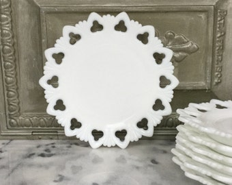 Milk Glass Plates / Set of Seven Kemple Plates / Shell and Club Milk Glass Plates