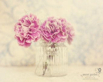 flower carnation photo print - whimsical stilllife photography, floral, light, blue, pink, wall art, pretty