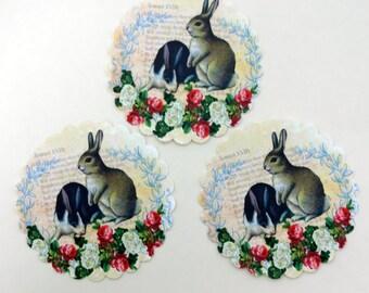 Shabby French Rabbit Stickers Vintage