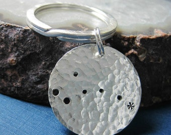 Sterling Silver Key Chain Key Ring -- Constellation Little Dipper -- North Star -- Polaris -- Father's Day -- Graduation -- Groomsmen Gift