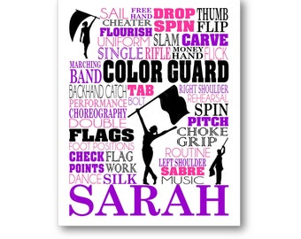 Colorguard Typography Poster, Color Guard Wall Art, Color Guard Team Gift, Gift for Colorguard Coach, Colorguard Canvas, Color Guard Print