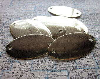 5 Large Brass Oval Blank Tags