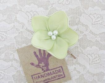 Lime Green Flower Hair Pin. Light Lime Green Flower Hair Piece. Bridesmaid Hair Accessory.