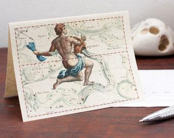 Printable Zodiac Sign Aquarius Constellation Greeting Card Printable Digital File Instant Download Birthday Card PDF Download File Christmas