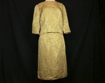 Vintage Skirt Suit Gold Brocade 3/4 Sleeve Top Straight Skirt Women's S 60s