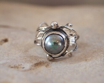 Silver Dark Gray Pearl Ring- Adjustable - Art Jewelry-  Hands Collection