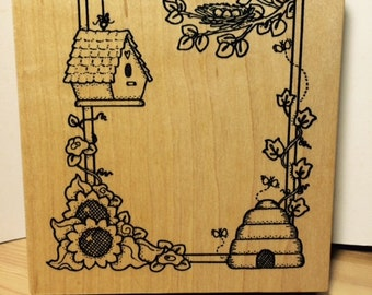 Country Frame with Bird House, Nest, Bee Hive, Sunflowers and Vines Rubber Stamp by Darcie's