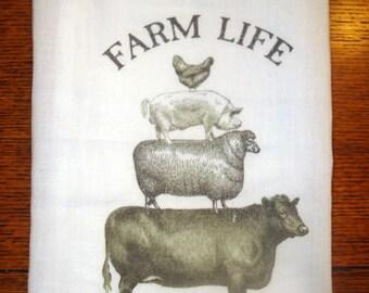 Flour Sack Kitchen Towel Farm Animals