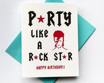 Letterpress Birthday Card - Rock Star