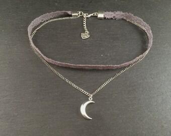 Moon necklace Choker grey Silber