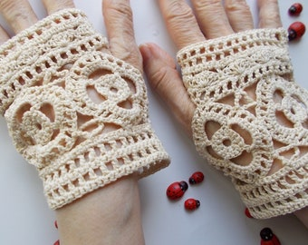 Crocheted Cotton Gloves Women L Ready To Ship Victorian Fingerless Summer Opera Wedding Lace Evening Hand Knitted Bridal Party Ivory B94