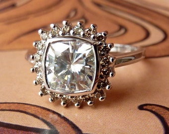 Antique Square Moissanite and Champagne Diamond Halo Ring - Deposit
