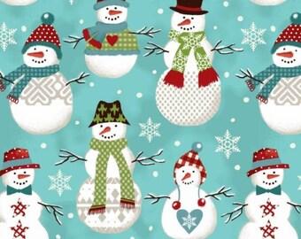 "Fleece Fabric Snowman Blanket Fabric Baby Blue Style 46239 60"" Wide"