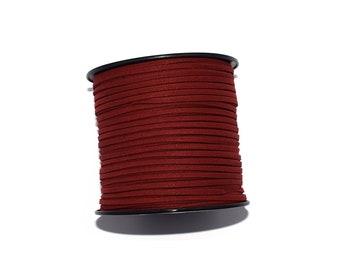 5 - 10 or 20 meter Suede (artificial suede) 3 mm Sienna Brown (dark Burgundy)