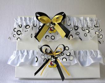 Ensemble de jarretières jaunes et noires Walt Disney, Ensemble de jarretières Mickey Mouse, Jarretières à pois, Polka dot jarretières mariée