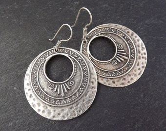 Deco Curl Statement Tribal Ethnic Silver Earrings - Authentic Turkish Style
