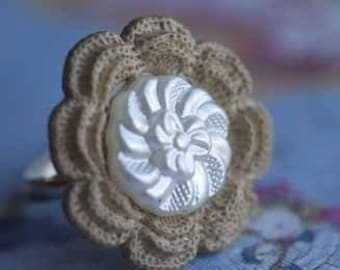 Knit One Pearl Two Vintage Style Ring