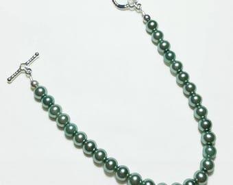 Teal Pearl Wedding Bridal Beaded Bracelet