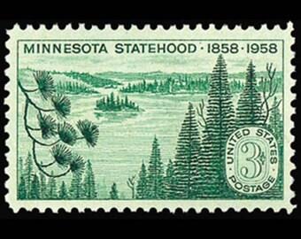Ten (10) vintage unused postage stamps - Minnesota // 3 cent stamps // Face value 0.30